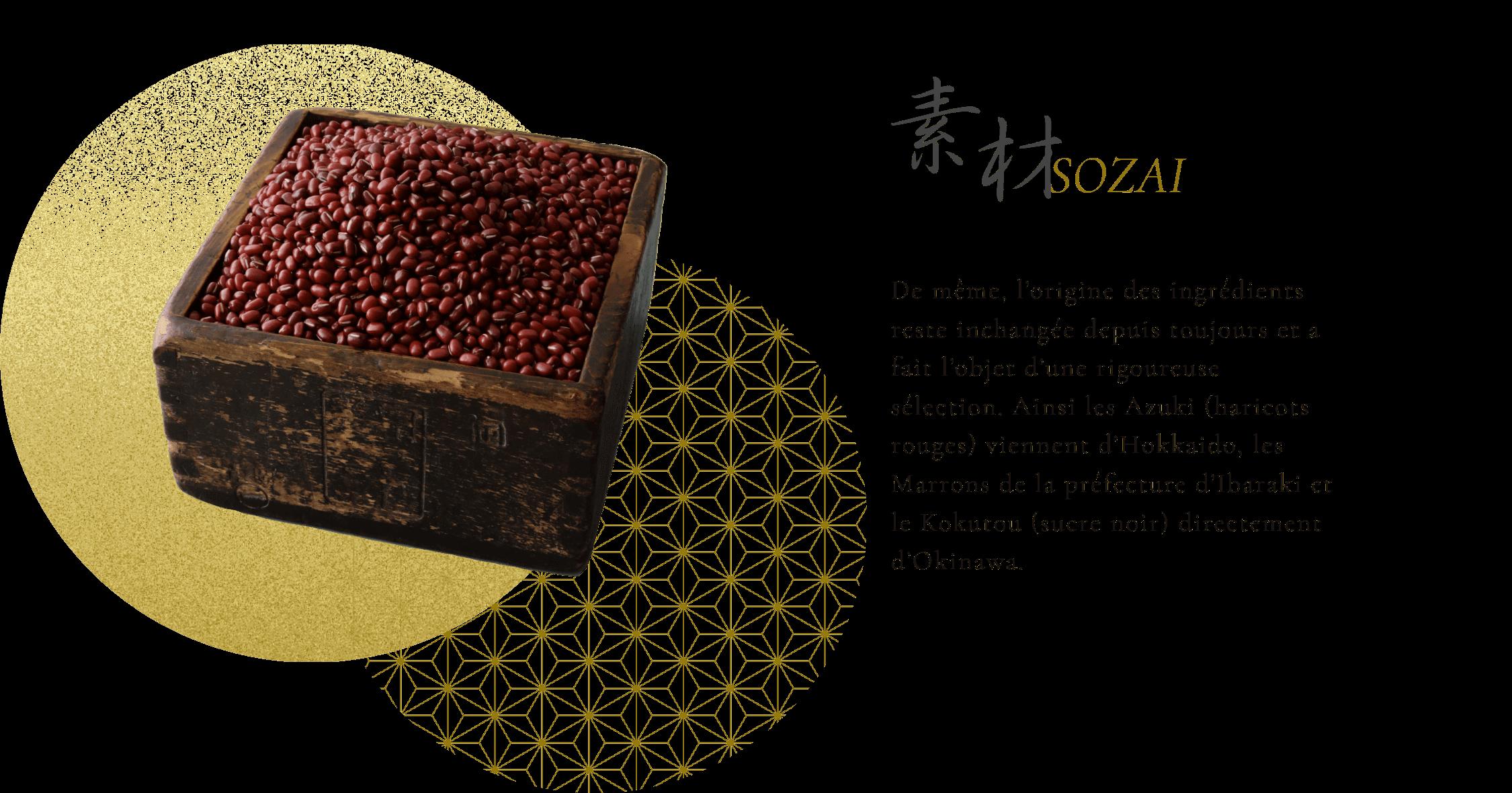 素材 De même, l'origine des ingrédients reste inchangée depuis toujours et a fait l'objet d'une rigoureuse sélection. Ainsi les Azuki (haricots rouges) viennent d'Hokkaido, les Marrons de la préfecture d'Ibaraki et le Kokutou (sucre noir) directement d'Okinawa.