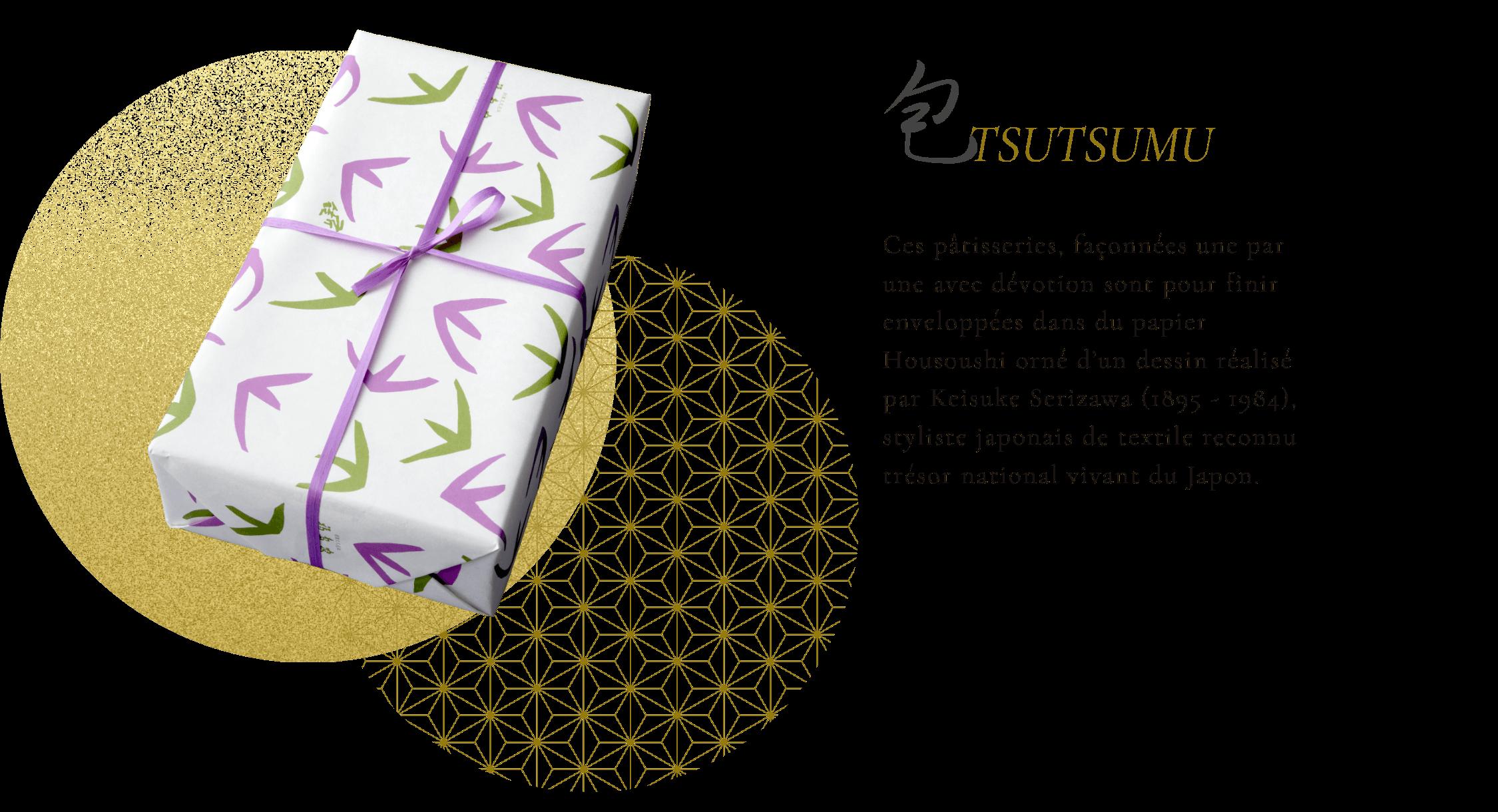 包 Ces pâtisseries, façonnées une par une (répétition mais si photo entre ok) avec dévotion sont pour finir enveloppées dans du papier Housoushi orné d'un dessin réalisé par Keisuke Serizawa (1895 - 1984), styliste japonais de textile reconnu trésor national vivant du Japon.